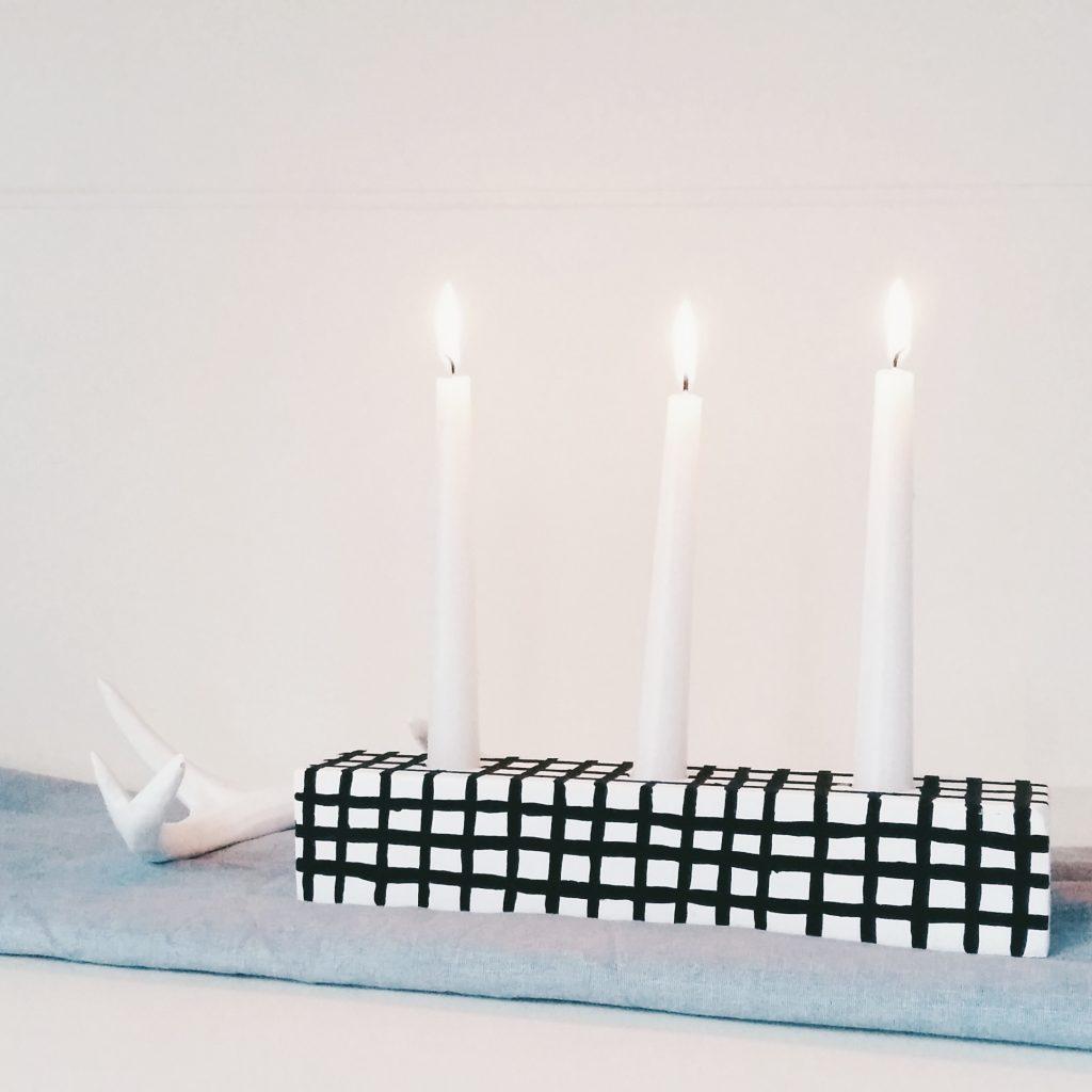 DIY Kerzenhalter schwarz-weiß