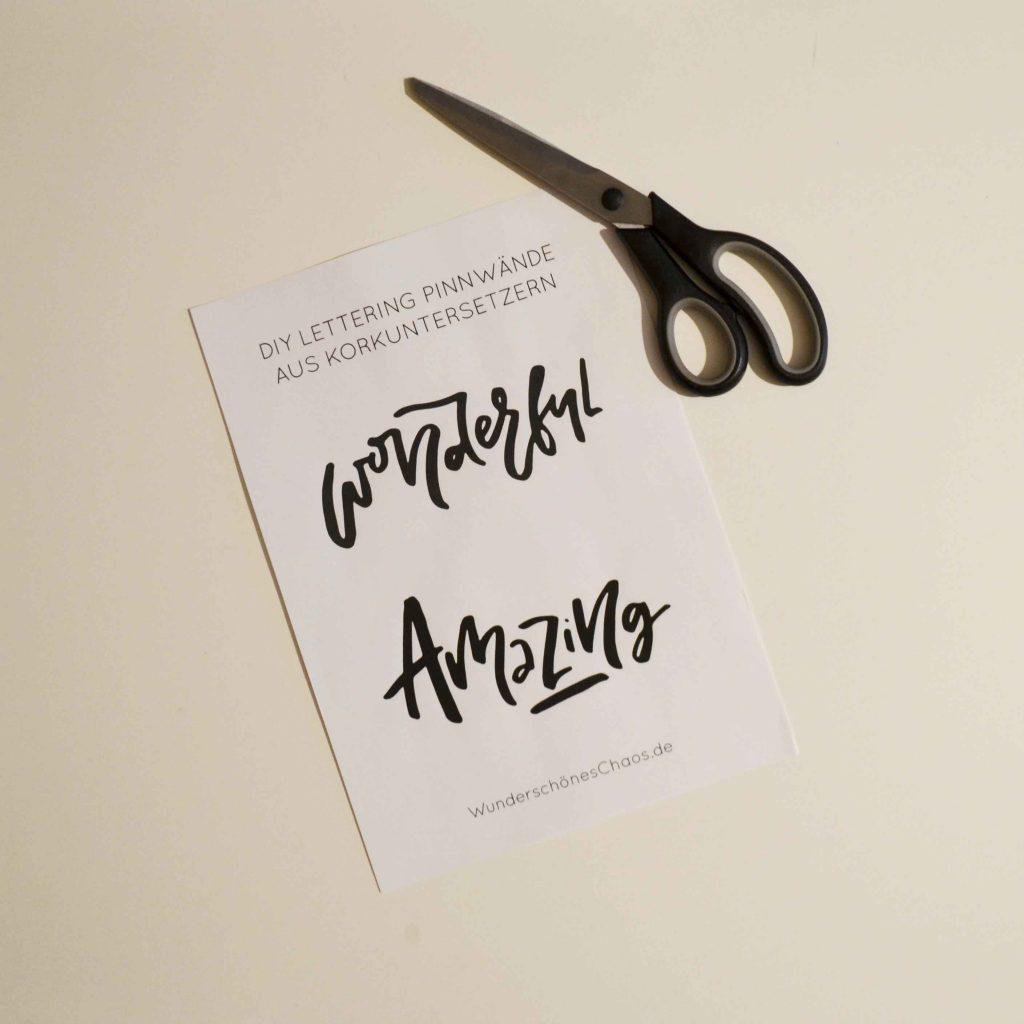 DIY Lettering Pinnwand aus Kork