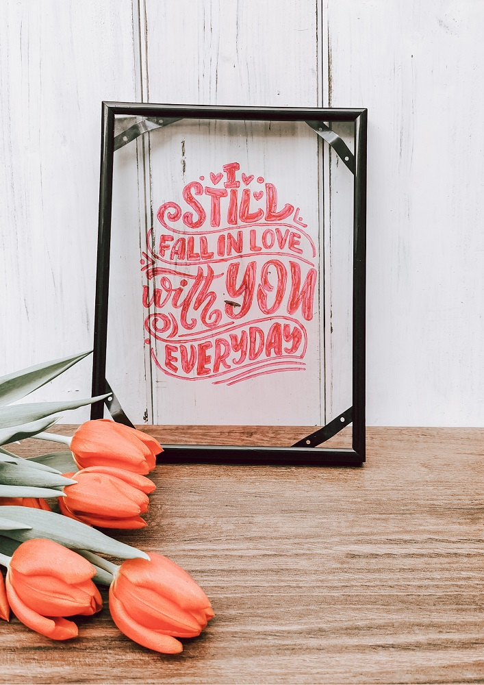 Love Lettering im Rahmen - Hand Lettering - Bild