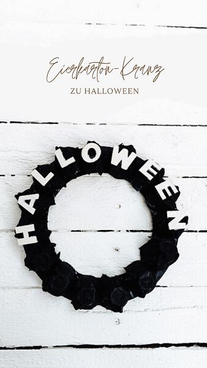 Eierkarton-Kranz zu Halloween