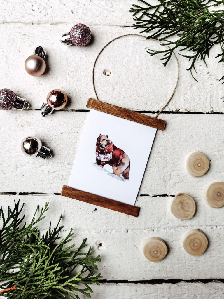 Watercolor Baumanhänger zu Weihnachten